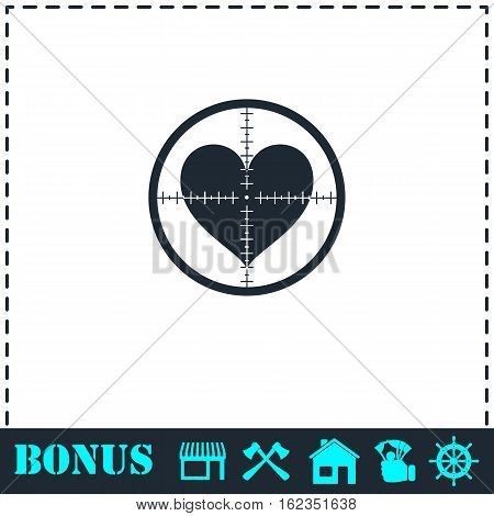 Hearth with crosshair icon flat. Simple vector symbol and bonus icon