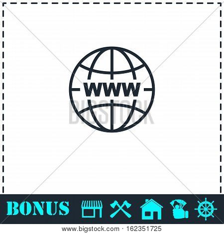 World Wide Web icon flat. Simple vector symbol and bonus icon
