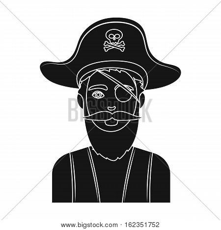 Pirate with eye patch icon in black style isolated on white background. Pirates symbol vector illustration.