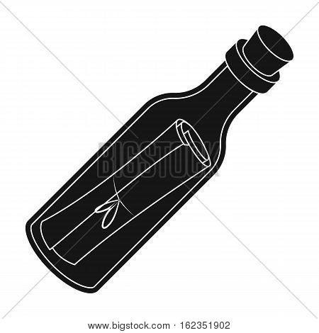 Message in the bottle icon in black style isolated on white background. Pirates symbol vector illustration.