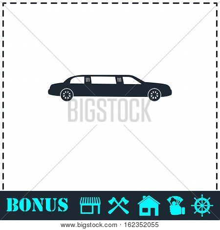 Limousine icon flat. Simple vector symbol and bonus icon