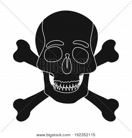 Pirate skull and crossbones icon in black style isolated on white background. Pirates symbol vector illustration.