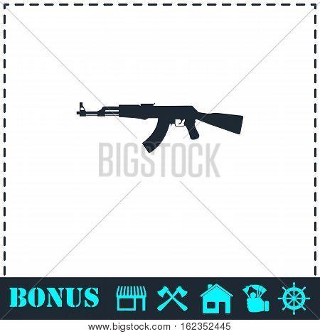 Assault rifle icon flat. Simple vector symbol and bonus icon