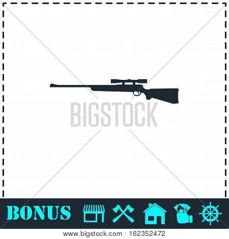 Sniper Rifle icon flat. Simple vector symbol and bonus icon