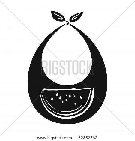 Baby bib icon in black style isolated on white background. Baby born symbol vector illustration.