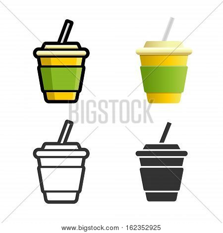 Cola carbonated soft drink vector cartoon, colored, contour and silhouette styles icon set. Tasty fast food unhealthy drink. Isolated dishes on white background.