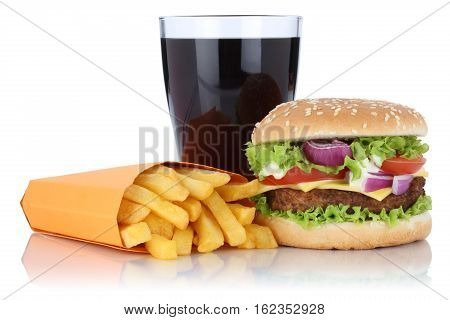 Cheeseburger Hamburger And Fries Menu Meal Combo Cola Drink Isolated