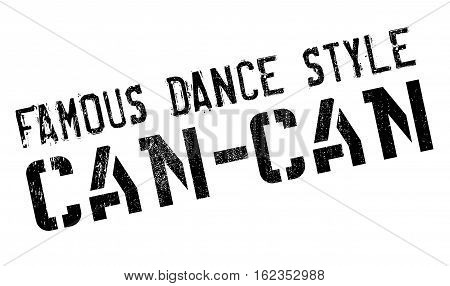Famous dance style, Can-Can stamp. Grunge design with dust scratches. Effects can be easily removed for a clean, crisp look. Color is easily changed.