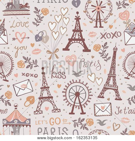 Vintage vector seamless pattern with Eiffel tower, letters, roses,hearts and Ferris wheel icons