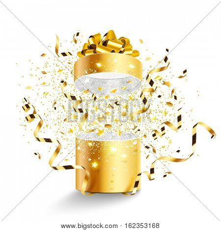 Golden gift with stars and confetti isolated on white background. Vector illustration