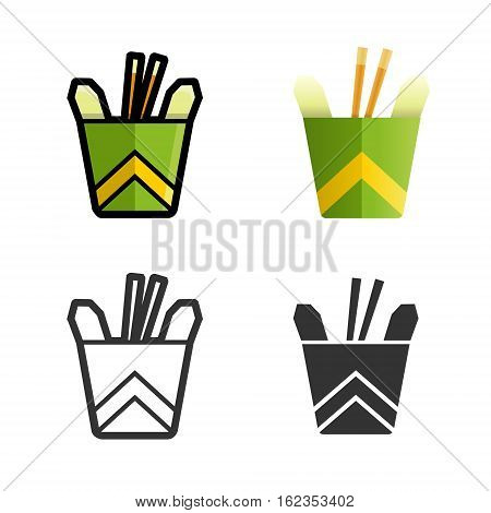 Noodles in a box vector cartoon, colored, contour and silhouette styles icon set. Tasty wok fried fast food unhealthy meal. Isolated dishes on white background.