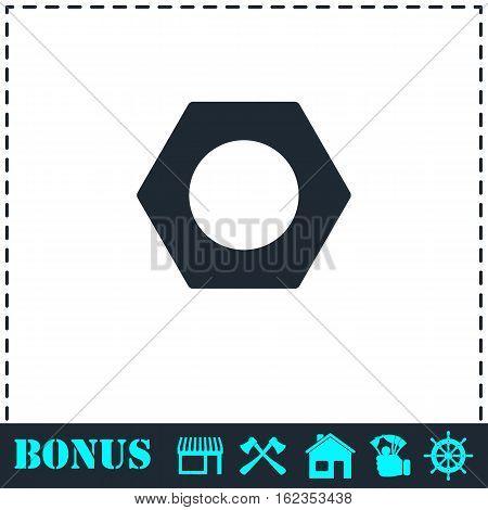 Hex nut icon flat. Simple vector symbol and bonus icon