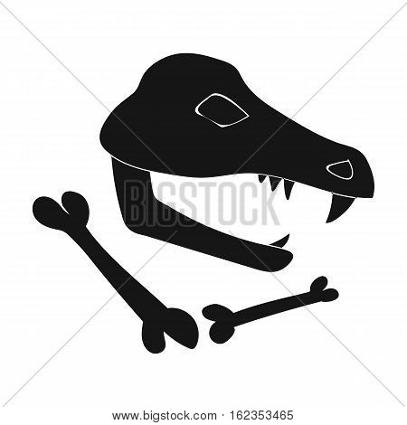 Dinosaur fossils icon in black style isolated on white background. Stone age symbol vector illustration.