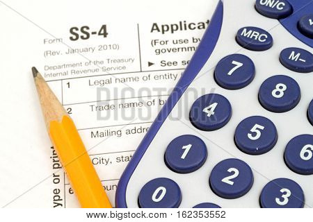 IRS Form SS-4 with tax prep tools