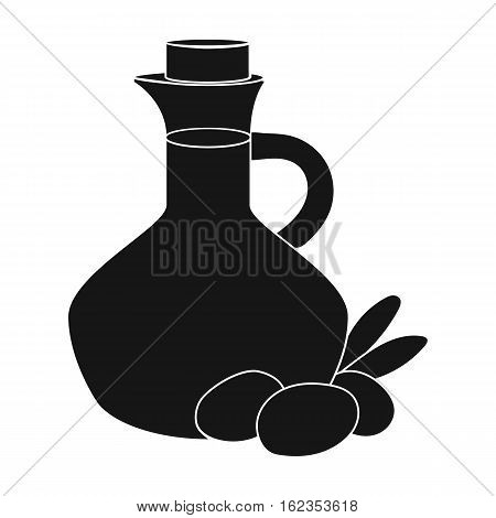 Olive oil bottle with black olives branch icon in black style isolated on white background. Greece symbol vector illustration.