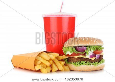 Cheeseburger Hamburger And Fries Menu Meal Combo Drink Isolated