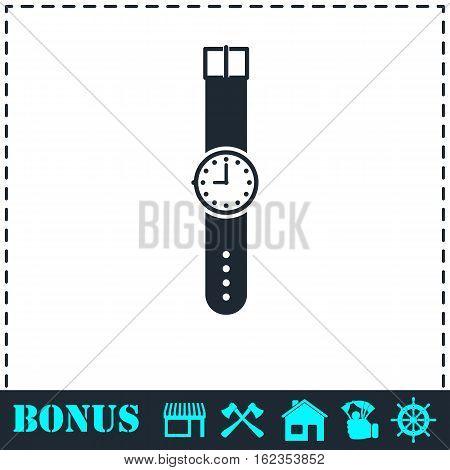 Wristwatch icon flat. Simple vector symbol and bonus icon