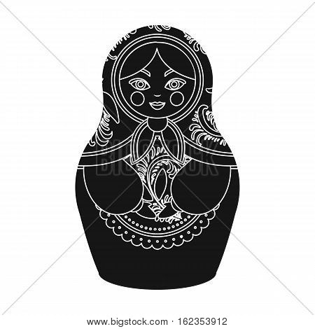 Russian matrioshka icon in black design isolated on white background. Russian country symbol stock vector illustration.