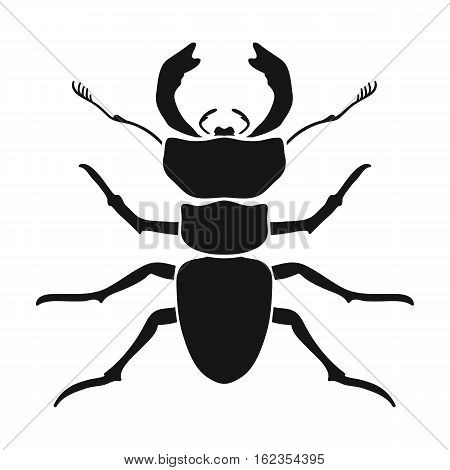Forest red ant icon in black design isolated on white background. Insects symbol stock vector illustration.