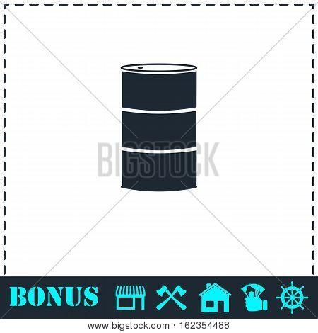 Barrels of oil icon flat. Simple vector symbol and bonus icon