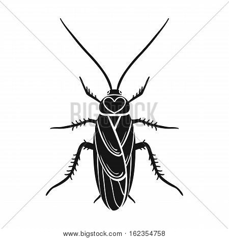 Cockroach icon in black design isolated on white background. Insects symbol stock vector illustration.