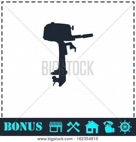Outboard boat motor icon flat. Simple vector symbol and bonus icon