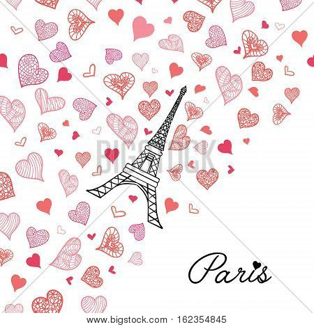 Unique Vector Eifel Tower Paris Greeting Card Bursting With St Valentines Day Pink Red Hearts Of Love. Perfect for travel themed postcards, party, wedding invitations.