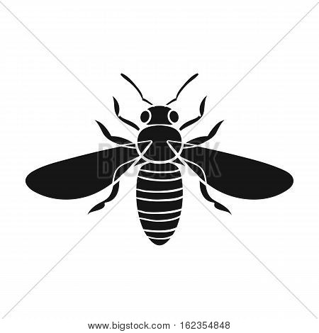 Bee icon in black design isolated on white background. Insects symbol stock vector illustration.