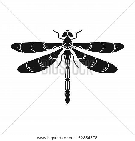Dragonfly icon in black design isolated on white background. Insects symbol stock vector illustration.