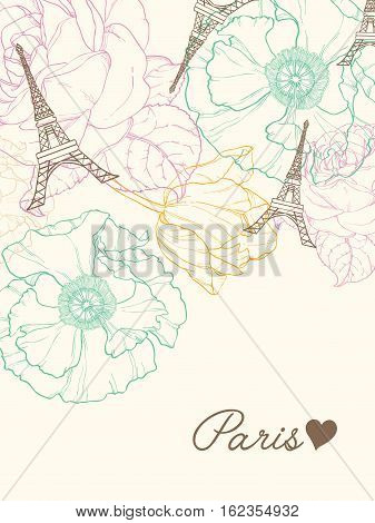 Unique Vector Eifel Tower Paris Greeting Card In Vintage Style With Beautiful, Romantic Pastel Flowers. Perfect for travel themed postcards, party, wedding invitations.