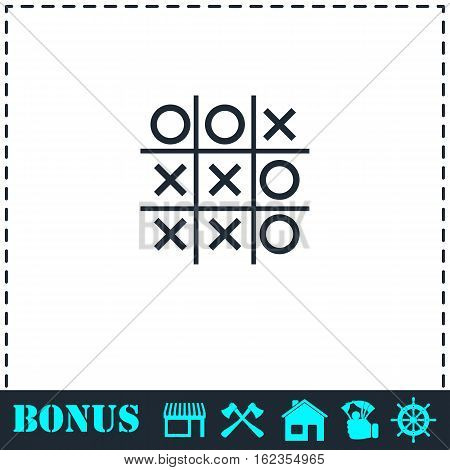 Tic tac toe game icon flat. Simple vector symbol and bonus icon