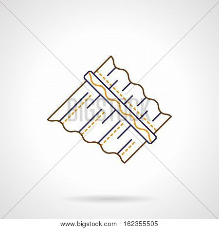 Abstract symbol of panpipe or pan flute. Unusual and ethnic musical instruments, creative ideas. Color flat line vector icon.