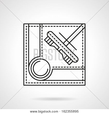 Symbol of pool-table corner with hole and brush. Accessories for cleaning of billiard table. Sport and active leisure concept. Flat black line vector icon.