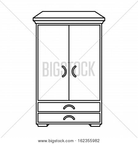 Closet icon in outline style isolated on white background. Furniture and home interior symbol vector illustration.