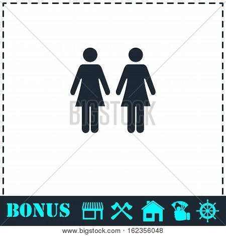 Lesbian icon flat. Simple vector symbol and bonus icon