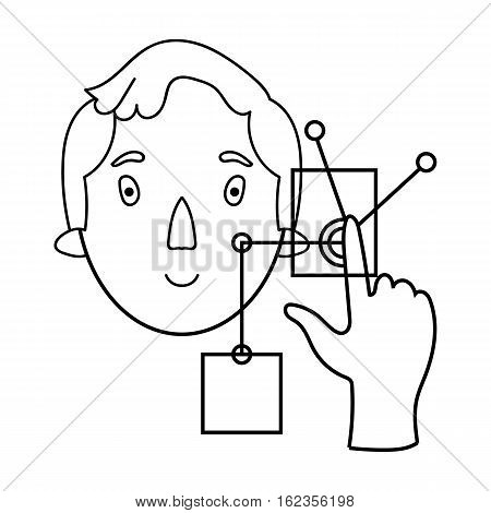 Man in the virtual reality icon in outline style isolated on white background. Virtual reality symbol vector illustration.