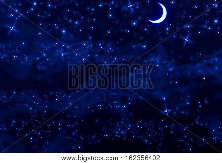 Silent blue night sky with moon, stars and clouds