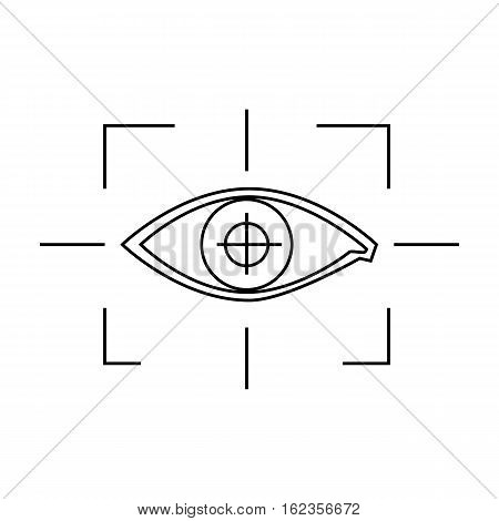 Focus of eye in the virtual reality icon in outline style isolated on white background. Virtual reality symbol vector illustration.