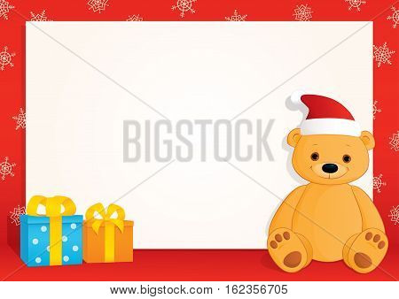 Vector Christmas blank banner with a red frame, snowflakes gifts, and a brown teddy bear wearing Santa hat. Place for text on a white background. Horizontal format A3/A4.