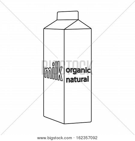 Milk gable top carton package icon in outline style isolated on white background. Milk product and sweet symbol vector illustration.