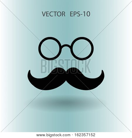 Flat shadow Hipster retro style mustache and eyeglasses ico