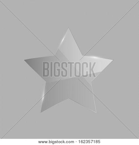Shiny glass star illustration on a grey background