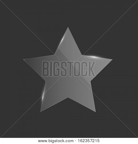Shiny glass star illustration on a dark background