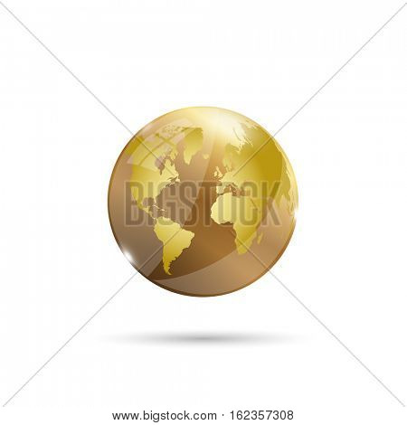 Gold glossy earth illustration on a white background