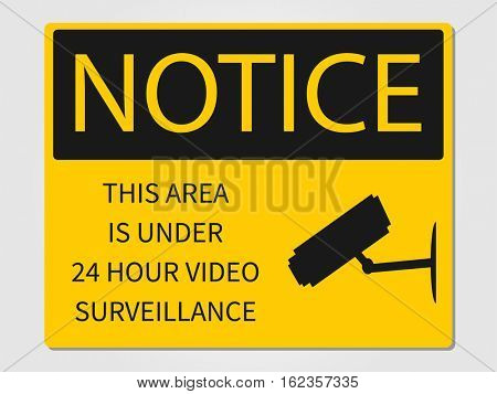 Video surveillance sign illustration on a white background
