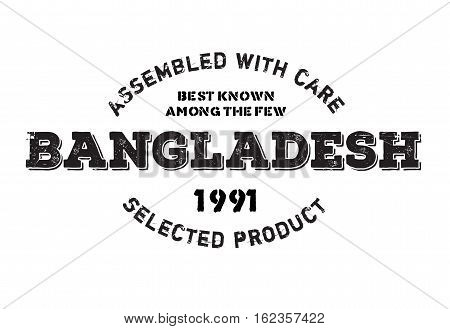 Assembled in Bangladesh rubber stamp. Grunge design with dust scratches. Effects can be easily removed for a clean, crisp look. Color is easily changed.
