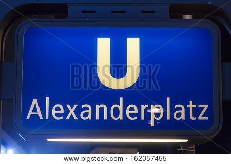 U-bahn Alexanderplatz sign at night. Berlin Germany