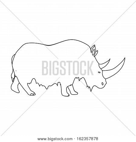 Woolly rhinoceros icon in outline style isolated on white background. Stone age symbol vector illustration.