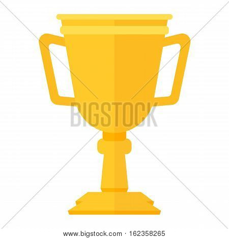 Vector trophy champion cup flat icon. Winner trophy award and victory prize. Sport success and best win golden leadership award competition illustration.