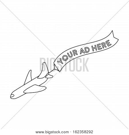 Aerial advertising icon in outline style isolated on white background. Advertising symbol vector illustration.